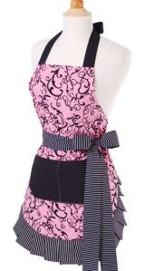 Chic pink with black design, striped bow on side and pockets