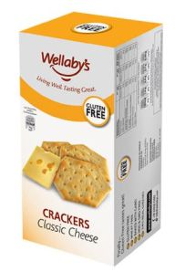 Box of Wellaby's Classic Cheese Crackers that says Gluten Free