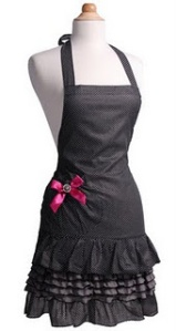 Sexy Apron with pink bow ribbon on hip