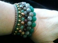 Handmade bracelet which is made of Labradite and Tourmaline.