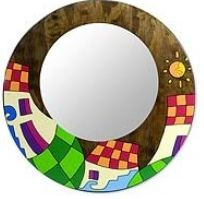 Handmade folk-art, Colorful round framed mirror, mirror slightly off center