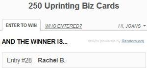 Uprinting Bus. Card Winner May 2012
